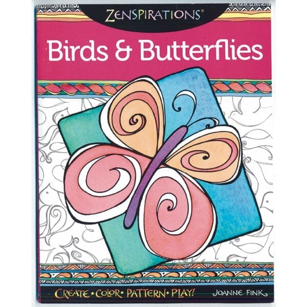 Zenspirations® Coloring Book by Joanne Fink features bird and butterfly designs to embellish.