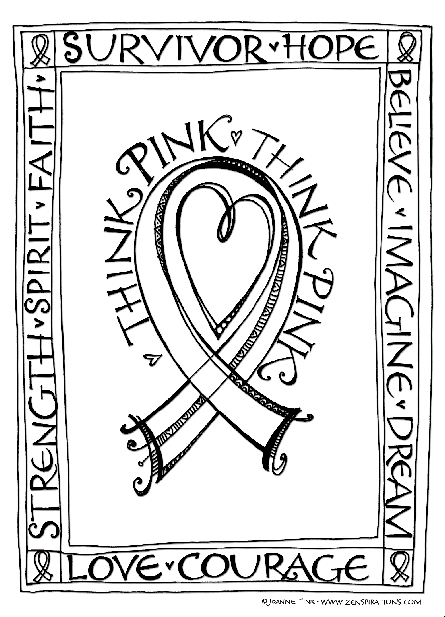 Think Pink! Free Downloadable Coloring Pages! - Zenspirations