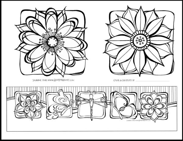 ZenspirationsR By Joanne Fink Flowers Coloring Page